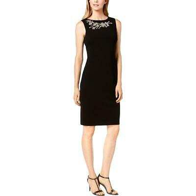 Calvin Klein Womens Sleeveless Embellished Workwear Sheath Dress BHFO 5817