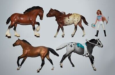 Paddock Pals Lot, Clydesdale, Race Horse and Jockey, Western Appaloosa and rider