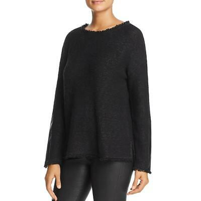 Donna Karan Womens Black Fringed Faux Leather Pullover Sweater Top XXS BHFO 4319