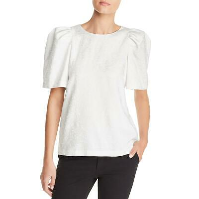 Calvin Klein Womens Textured Puff Sleeves Shirt Blouse Top BHFO 3327