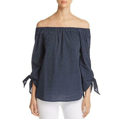 INC Womens Black Off-The-Shoulder Short Sleeves Pullover Top Blouse S BHFO 6082