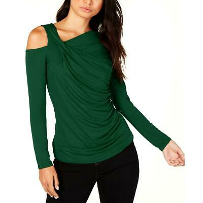Vince Camuto Womens Green Cold Shoulder Ruched Pullover Top Shirt XL BHFO 3541
