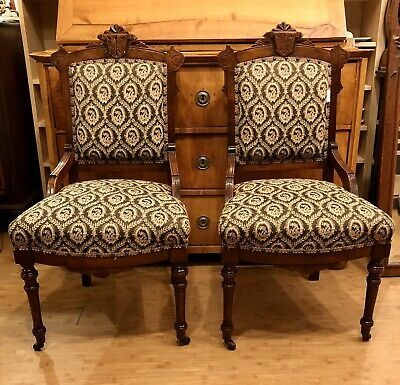 Pair of Antique Victorian Walnut Parlor Side Ladies Chairs Renaissance Revival