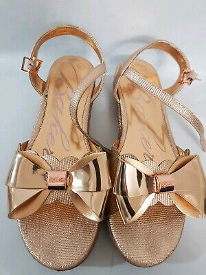Womens Girls Ted Baker Gold Bow Sandals Size Uk 4
