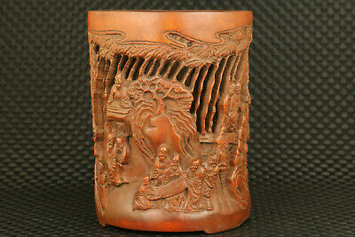 Antiques old chinese hand carved bamboo longevity statue brush pot collectable