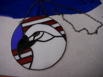 Vintage Hand Made STAINED GLASS Bald EAGLE & Patriotic US Flag SUN CATCHER