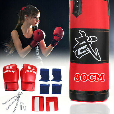 80cm Hanging Boxing unch Bag Filled Heavy Duty Punching MMA Training Set