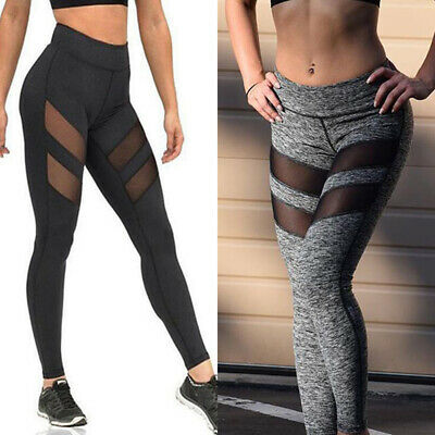 Women Elastic Waist Mesh Slim Leggings Gym Yoga Fitness Pants SportswearBDDD