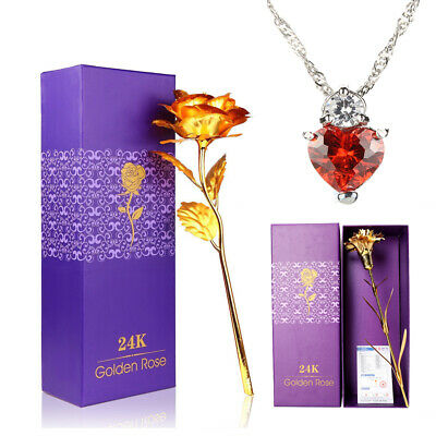 24K Gold Plated Rose Dipped Flower / Carnation+Crystal Necklace Xmas Decor Gift