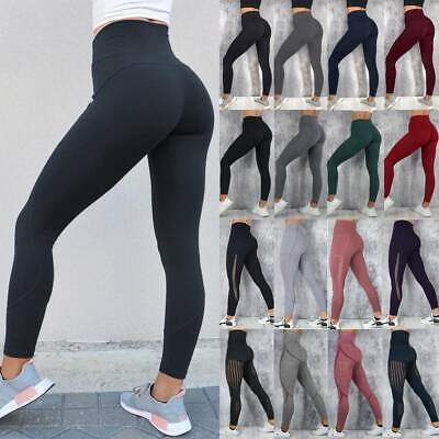 Women's Sports Leggings Yoga Pants Pocket High Waisted Gym Ftiness Trousers A21