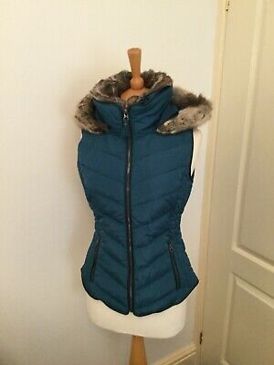 Joules Womens Maybury Chevron Gilet With Hood in DARK TEAL size 10
