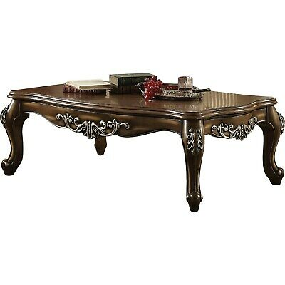 Intricately Carved Wooden Coffee Table in Antique Oak Brown Brown