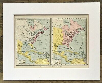 1907 Antique Historical Map - Eastern & Central America 18th Century - Mounted