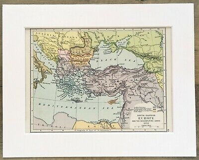 1907 Antique Historical Map - South East Europe, Balkans in 1892 - Mounted