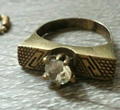 Antique Fabulous Vintage Ring Wedding White Stone Viking Unique Very Old Jewelry