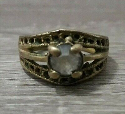 Vintage Ring Old Antique Bronze Very Rare Unique Viking Type Fabulous Stone