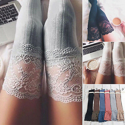 Ladies Women Girl Thigh-High Over the Knee Socks Long Lace Trim Cotton Stockings