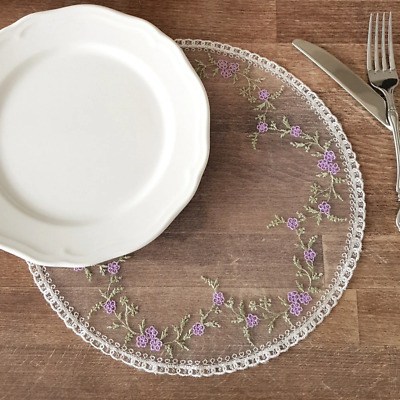 White round lace doily, placemat 30 cm (11.81 inch) diameter, lilac flowers for