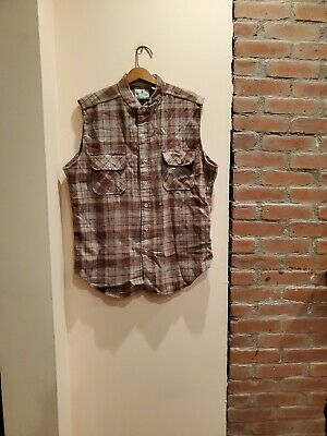 VTG Eastern Mountain Sports EMS Wool Blend Shirt Mens Large Plaid SLEEVELESS USA