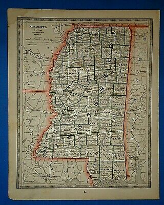 Vintage 1884 MISSISSIPPI MAP Old Antique Original & Authentic Atlas Map