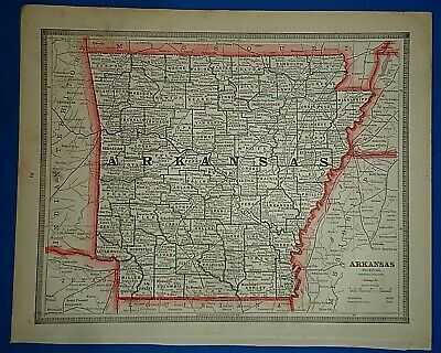 Vintage 1884 ARKANSAS MAP Old Antique Original & Authentic Atlas Map