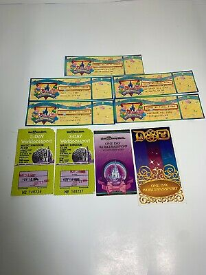 Vintage Walt Disney World 3-day Worldpassport Tickets 1980's 15 Year Celebration