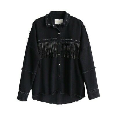 Jacket Women 1pc Button Outerwear Beading Black Loose Denim Coat Sequined Tassel