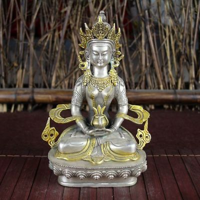 China old Feng Shui ornaments white Copper gild Silver guanyin Statue