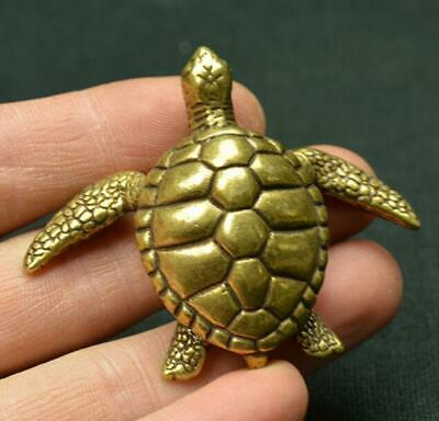 Chinese exquisite Old Hand-made Pure brass solid little turtle small statue