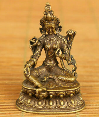 Antique Chinese rare old bronze hand carving Tibet Buddha statue decoration