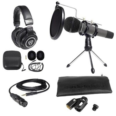 Audio Technica ATM510 PC Podcasting Podcast Bundle Microphone+Stand+Headphones