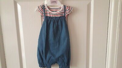 M&S 'Baby' Dungaree Set 3-6 Months - Striped All-In-One & Short Dungarees - Bnwt