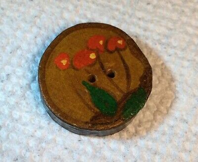 Vintage Folk Art Hand Carved, Painted Floral Two Hole Wooden Button