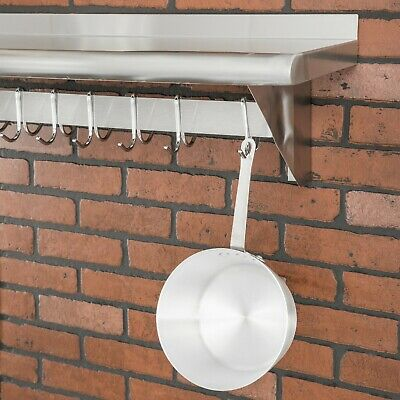 Stainless Steel Wall Mounted Pot Rack with Shelf and 18 Galvanized Hooks