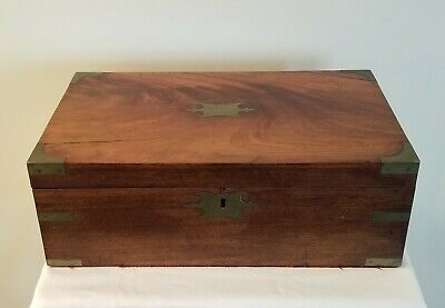 Antique Mahogany Sea Captains Writing Slope, Victorian Travel Desk Secret Drawer