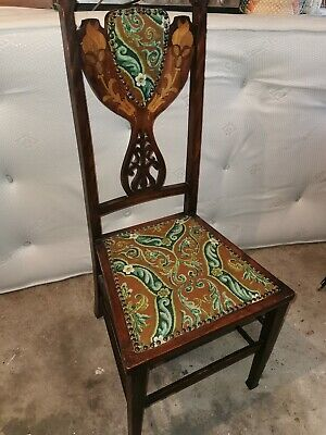 A Pretty Antique Edwardian Mahogany Inlaid Bedroom/Feature Chair Striped Fabric
