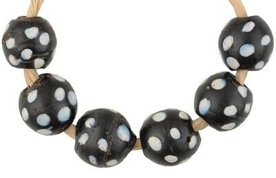 African trade antique Skunk Venetian glass beads old wound lampwork black