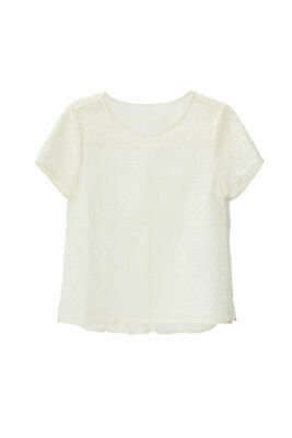 Joie White Ivory Women's Small S Lace Short Sleeve Crewneck Blouse $248- #692