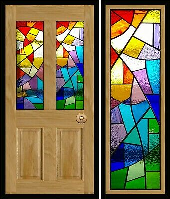 Traditional Stained Glass Door Panels, Sagrada Familia design, made to measure