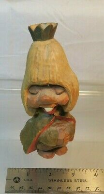 Vintage Norway Hand Carved Wooden Troll King w/Cape Figure  - Bano