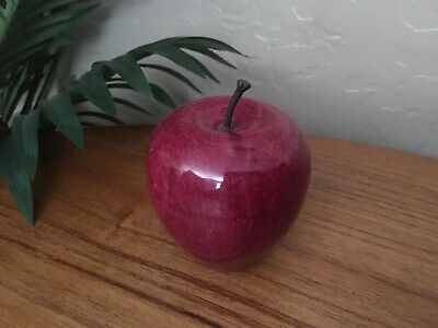 Vintage Red Marble Stone Alabaster Apple Paperweight Figurine