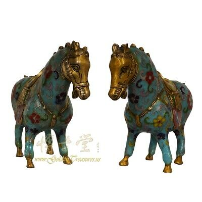 Vintage Chinese Hand Made Cloisonne Horse Statuary - Pair