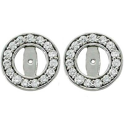 5-5.5mm Retail $995 Diamond Earring Jackets 14K White Gold Fits 1//2ct Stones