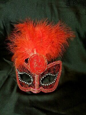 Original Venecian Masquerade Carnaval Mask in Red with Centre Rose & Feathers