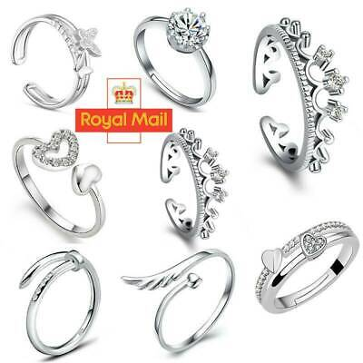 Ladies Womens 925 Sterling Silver Rings Adjustable Thumb Wedding Engagement UK