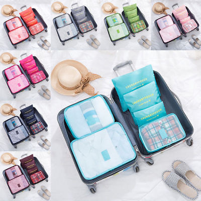 6Pcs Travel Clothes Storage Waterproof Bags Luggage Organizer Pouch Packing Cube