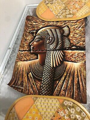 Monsef Labib Egyptian Authenic Papyrus Painting Of Cleopatra One Of A Kind