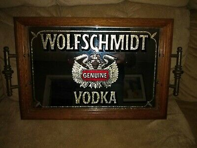 Vintage 1970's Wolfschmidt Vodka Bar Mirror and or Carrying Tray