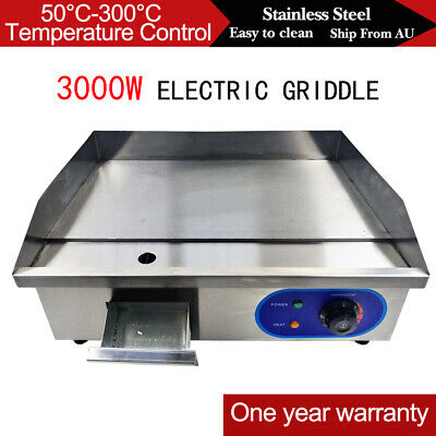 3KW Electric Griddle Grill 53cm BBQ Egg Bacon Flat Hot Plate Countertop Grilling