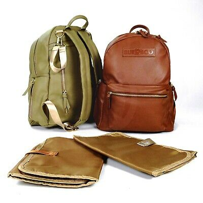Bubboo Aus- Faux Leather Nappy Backpack W/Stroller Straps-Changing Pad